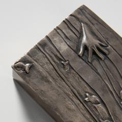 Line Vautrin Silvered bronze box La main aux poissons  - 1690909