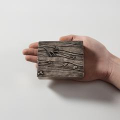 Line Vautrin Silvered bronze box La main aux poissons  - 1690913