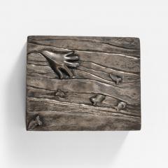 Line Vautrin Silvered bronze box La main aux poissons  - 1693568