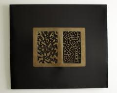 Lino Tine Abstract Bronze Wall Sculpture on Black Wood Frame - 366661