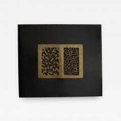 Lino Tine Abstract Bronze Wall Sculpture on Black Wood Frame - 367259