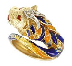 Lion Enamel Ring with Diamonds in 18 Karat Yellow Gold - 1744172
