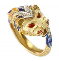 Lion Enamel Ring with Diamonds in 18 Karat Yellow Gold - 1744173