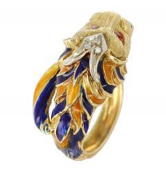 Lion Enamel Ring with Diamonds in 18 Karat Yellow Gold - 1744175
