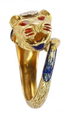 Lion Enamel Ring with Diamonds in 18 Karat Yellow Gold - 1744176