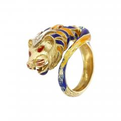 Lion Enamel Ring with Diamonds in 18 Karat Yellow Gold - 1745387
