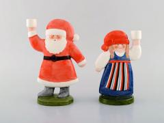 Lisa Larson A pair of rare candlesticks in glazed porcelain Santa and his wife - 1421723