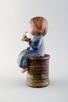 Lisa Larson Girl with flowers in glazed ceramics 20th century - 1372204