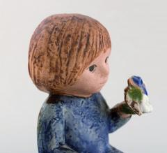 Lisa Larson Girl with flowers in glazed ceramics 20th century - 1372206