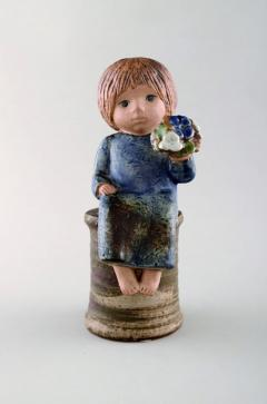 Lisa Larson Girl with flowers in glazed ceramics 20th century - 1372214