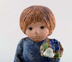 Lisa Larson Girl with flowers in glazed ceramics 20th century - 1372218