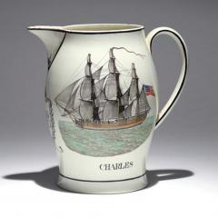 Liverpool Large Creamware Jug with American Ship Inscribed Charles  - 1635685