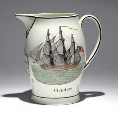 Liverpool Large Creamware Jug with American Ship Inscribed Charles  - 1635686