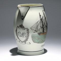 Liverpool Large Creamware Jug with American Ship Inscribed Charles  - 1635688