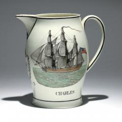 Liverpool Large Creamware Jug with American Ship Inscribed Charles  - 1635690