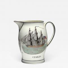 Liverpool Large Creamware Jug with American Ship Inscribed Charles  - 1637691