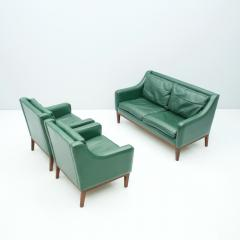 Living Room Set in Green Leather Sofa and Lounge Chairs Italy 1958 Teak - 1827642