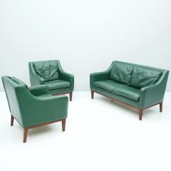 Living Room Set in Green Leather Sofa and Lounge Chairs Italy 1958 Teak - 1827644