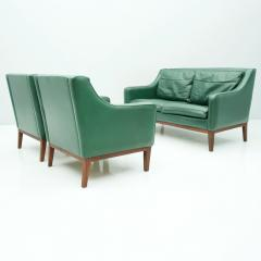 Living Room Set in Green Leather Sofa and Lounge Chairs Italy 1958 Teak - 1827645