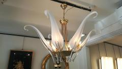Livio Seguso Iris Leaves Chandelier in Murano Glass and brass by Seguso - 1114549