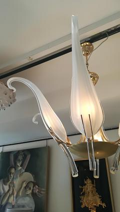 Livio Seguso Iris Leaves Chandelier in Murano Glass and brass by Seguso - 1114550