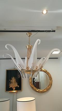 Livio Seguso Iris Leaves Chandelier in Murano Glass and brass by Seguso - 1114551