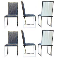 Liwans 1970s Italian Six Brass and Chrome Modern Chairs Blue and White Fabric - 659360