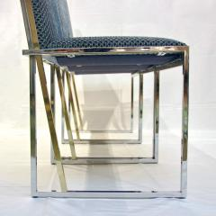 Liwans 1970s Italian Six Brass and Chrome Modern Chairs Blue and White Fabric - 659361