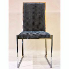 Liwans 1970s Italian Six Brass and Chrome Modern Chairs Blue and White Fabric - 659362