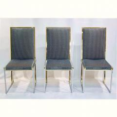Liwans 1970s Italian Six Brass and Chrome Modern Chairs Blue and White Fabric - 659363