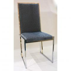 Liwans 1970s Italian Six Brass and Chrome Modern Chairs Blue and White Fabric - 659367