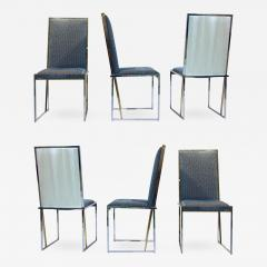 Liwans 1970s Italian Six Brass and Chrome Modern Chairs Blue and White Fabric - 661044