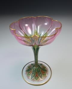 Lobmeyr Champagne Flower Form Enamel Art Glass 1905 - 963248