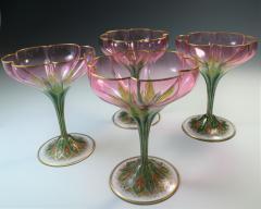 Lobmeyr Champagne Flower Form Enamel Art Glass 1905 - 963252