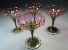 Lobmeyr Champagne Flower Form Enamel Art Glass 1905 - 963253