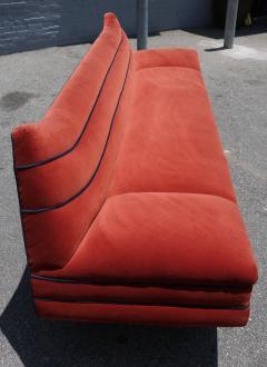 Lovely Long 1970s Orange Velvet Sofa With Navy Piping   224804