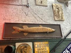 Long Hand Carved Fish Wood Sign - 1362716