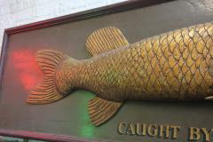 Long Hand Carved Fish Wood Sign - 1362838