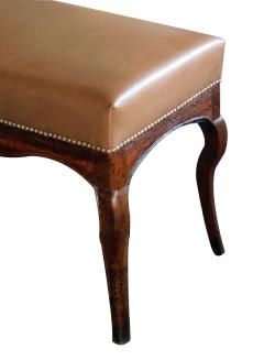Long Italian Rococo style bench with leather upholstery - 2002852