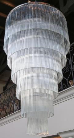 Long Tiered Glass Rod Chandelier with Chrome Frame - 899726