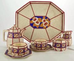 Longwy French Ceramic Cloisonn Art Deco Coffee Tea Suite - 1806986