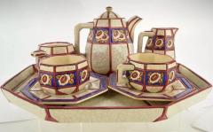 Longwy French Ceramic Cloisonn Art Deco Coffee Tea Suite - 1807122