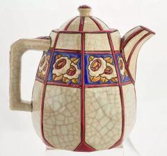 Longwy French Ceramic Cloisonn Art Deco Coffee Tea Suite - 1807125