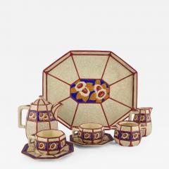 Longwy French Ceramic Cloisonn Art Deco Coffee Tea Suite - 1807622
