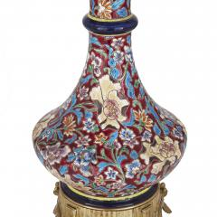 Longwy Pair of French Chinoiserie style faience glass and gilt bronze lamps - 1548970