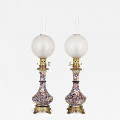 Longwy Pair of French Chinoiserie style faience glass and gilt bronze lamps - 1551309