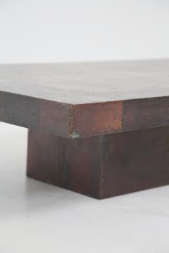 Lorenzo Burchiellaro Lorenzo Burchiellaro Brutalist Coffee table in wood and copper signed 1970s - 1563535
