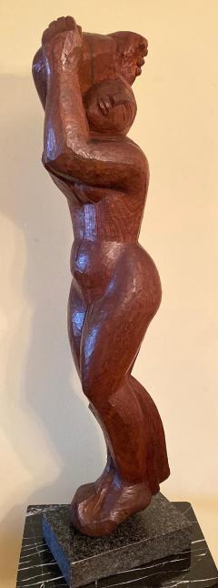 Lorrie H Mrs Lorrie de Creeft Goulet Lorrie Goulet Walnut Cubist Sculpture - 1165315
