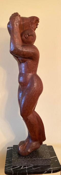Lorrie H Mrs Lorrie de Creeft Goulet Lorrie Goulet Walnut Cubist Sculpture - 1165316
