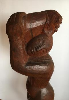 Lorrie H Mrs Lorrie de Creeft Goulet Lorrie Goulet Walnut Cubist Sculpture - 1165317